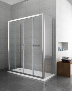 box doccia rettangolare porta scorrevole sostituzione vasca con doccia