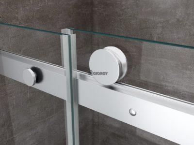 dettaglio porta scorrevole box doccia alluminio vetro