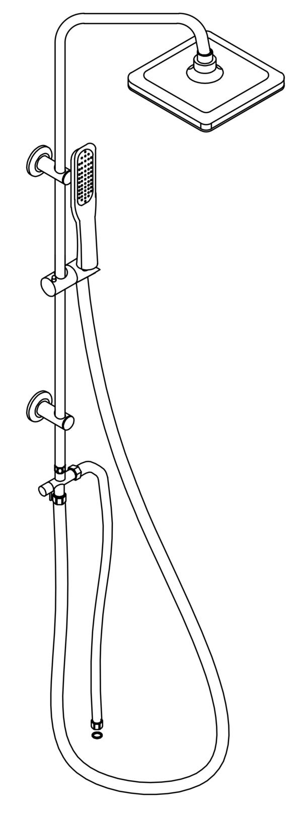 disegno tecnico colonna doccia a ponte soffione cervicale rettangolare e doccino