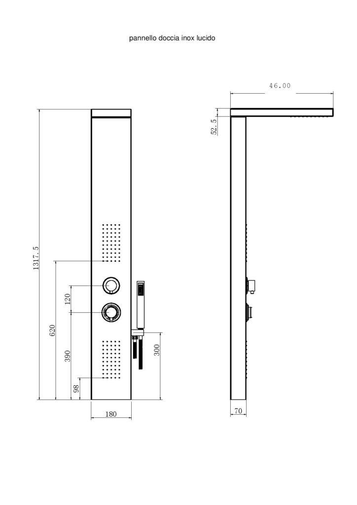 disegno tecnico pannello doccia inox lucido