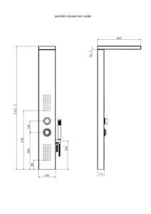 disegno tecnico colonna doccia idromassaggio