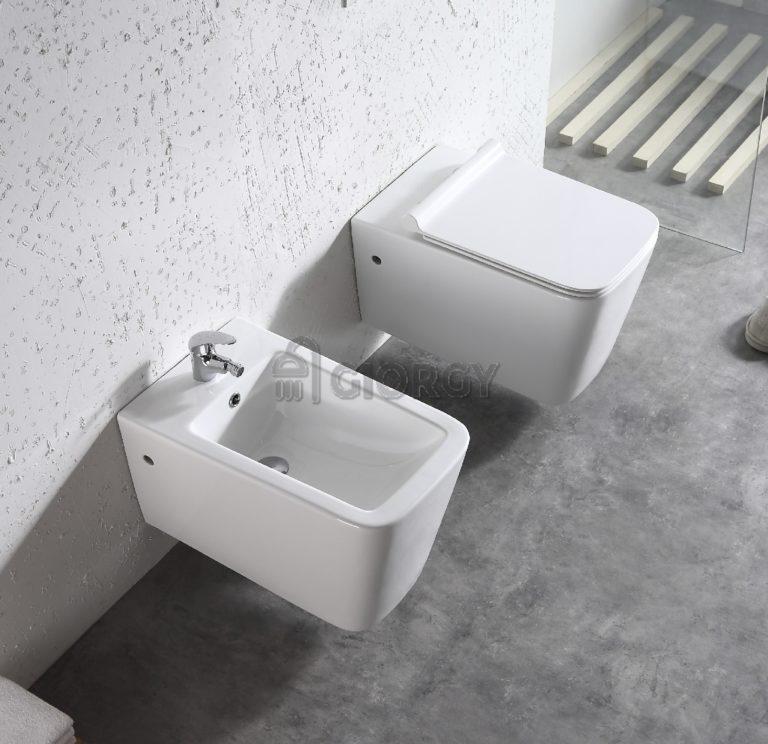sanitari wc bidet sospesi colore bianco forma squadrata
