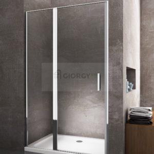 Porta box doccia in vetro con apertura battente e parete fissa in linea