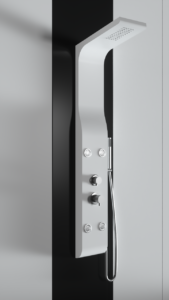 Colonna doccia idromassaggio in alluminio verniciato a polvere bianco