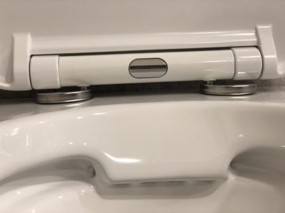 dettaglio wc senza brida in ceramica bianca