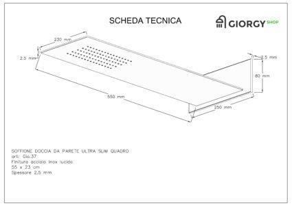 scheda tecnica soffione doccia da parete slim quadrato finitura acciaio inox lucido