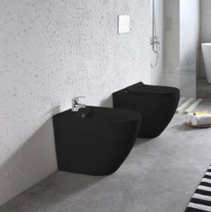 sanitari bagno wc bidet ceramica nera a terra filo muro