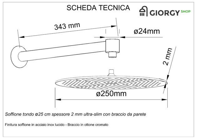 scheda tecnica soffione doccia rotondo con braccio a parete