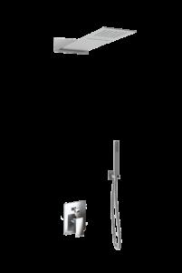 kit doccia soffione quadrato denoiser e doccino in acciaio inox