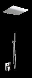 kit doccia soffione quadrato e doccino in acciaio inox