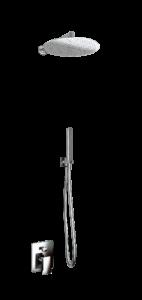 kit doccia soffione rotondo e doccino in acciaio inox