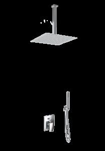 kit doccia soffione quadrato e doccino acciaio inox