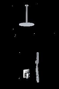 kit doccia soffione rotondo a soffitto e doccino acciaio inox