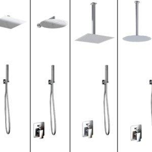 kit doccia soffione e doccino acciaio inox