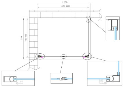 Modello box doccia con porta a battente per installazione ad angolo